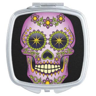 Sugar Skull Purple Floral Mirror For Makeup
