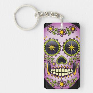 Sugar Skull Purple Floral Single-Sided Rectangular Acrylic Keychain