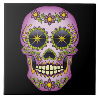 Sugar Skull Purple Floral Tile