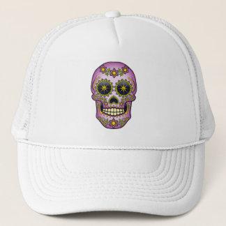 Sugar Skull Purple Floral Trucker Hat
