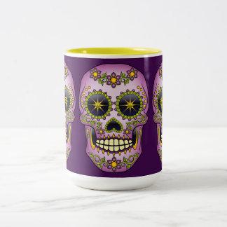Sugar Skull Purple Floral Two-Tone Coffee Mug