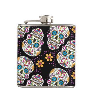 Sugar Skull Purple.png Hip Flask