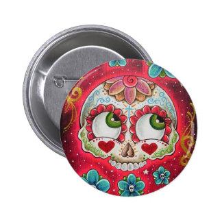 Sugar skull red 2 inch round button