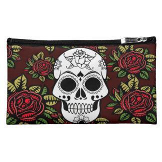 sugar skull retro red roses cosmetic make up bag