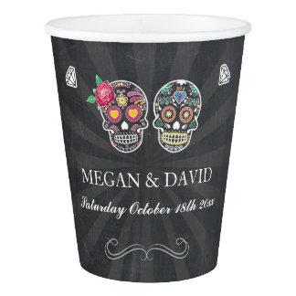 Sugar Skull Roses Paper Cups Halloween Wedding
