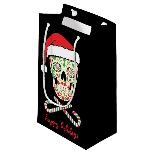 sugar skull santa customizable small gift bag