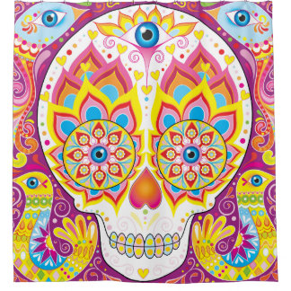 Sugar Skull Shower Curtain - Day of the Dead Art