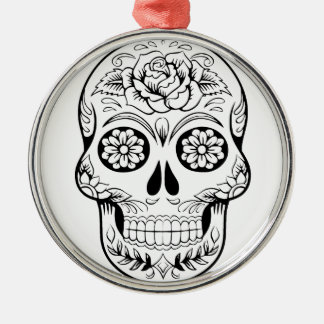 Sugar Skull Silver-Colored Round Ornament