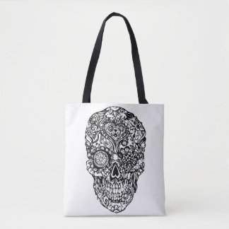 Sugar skull - Skulls Black White No1 Tote Bag