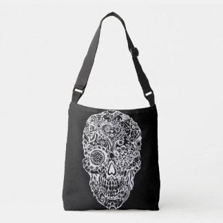 Sugar skull - Skulls Black White No4 Crossbody Bag