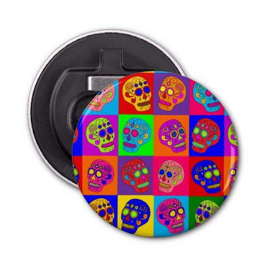 Sugar Skull Squares Button Bottle Opener