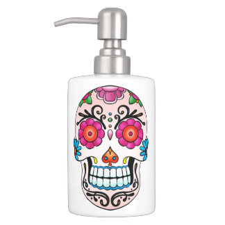 Sugar Skull - Tattoo Art Soap Dispenser And Toothbrush Holder