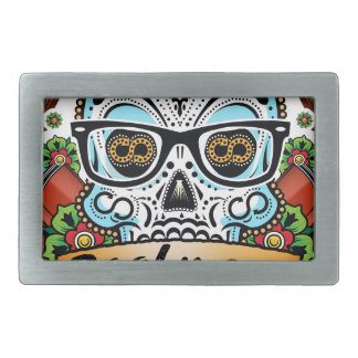 Sugar Skull W/ Glasses Belt Buckles