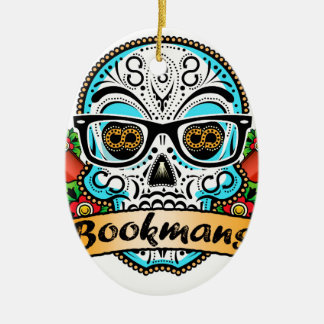 Sugar Skull W/ Glasses Ceramic Ornament