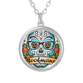 Sugar Skull W/ Glasses Silver Plated Necklace