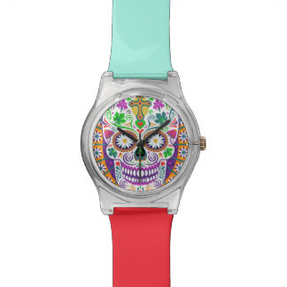 Sugar Skull Watch, Colorful Wrist Band Watch