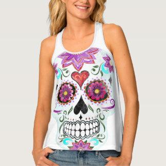 Sugar skull watercolor tank top