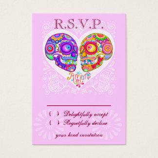 Sugar Skull Wedding RSVP Cards