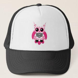 Sugar Skull White Pink Owl Trucker Hat