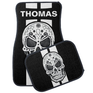 Sugar Skull White Race Stripes Personalized Car Mat