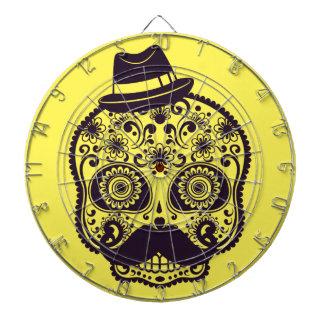 Sugar Skull with Fedora Hat Dart Boards