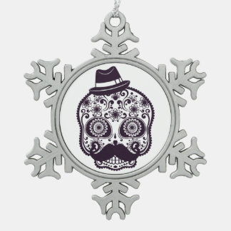 Sugar Skull with Fedora Hat Pewter Snowflake Ornament