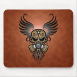 Sugar Skull with Gas Mask & Wings (brown) Mouse Pad