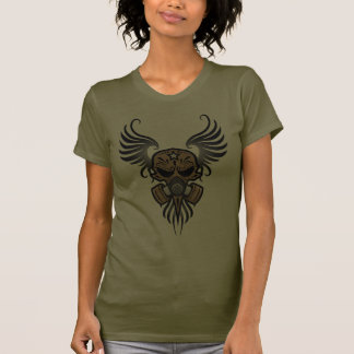 Sugar Skull with Gas Mask & Wings (brown) T Shirt