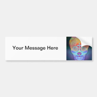 Sugar skull with rainbow colored background bumper sticker