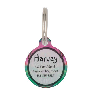 Sugar skull with rainbow colored background pet tag