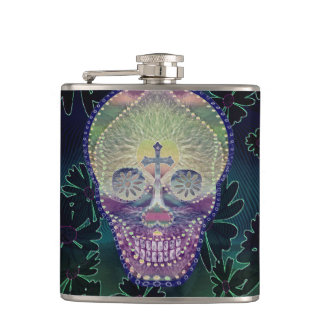 Sugar skull with rainbow colors, hearts hip flask