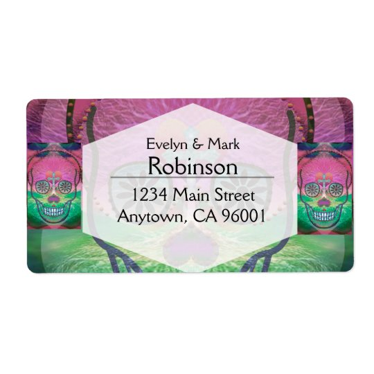 Sugar skull with rainbow coloured background shipping label