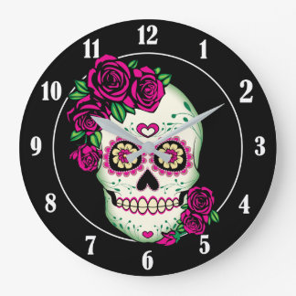 Sugar Skull with Roses Large Clock