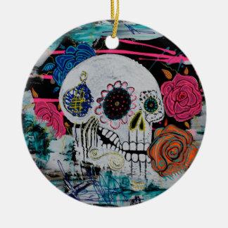 Sugar Skull with Roses Round Ceramic Ornament