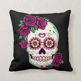 Sugar Skull with Roses Throw Pillow