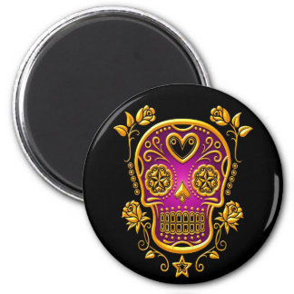 Sugar Skull with Roses, yellow and purple 2 Inch Round Magnet
