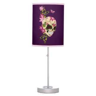 Sugar Skull with Stargazer Lilies Table Lamp