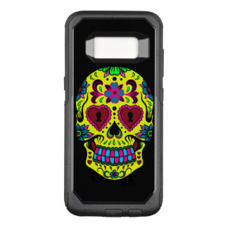 Sugar skull with yellow blue and purple colors OtterBox commuter samsung galaxy s8 case