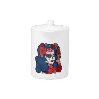 Sugar Skull Woman Red Roses In Hair