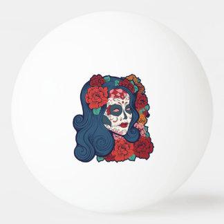 Sugar Skull Woman Red Roses In Hair Ping Pong Ball