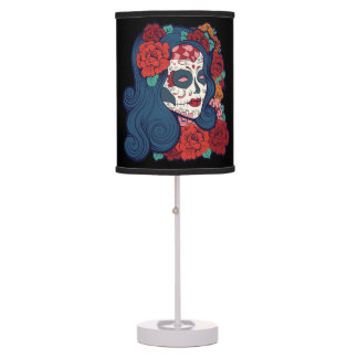Sugar Skull Woman Red Roses In Hair Table Lamp