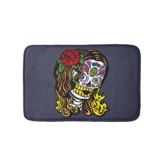 Sugar Skull Woman Rose in Hair Bath Mat