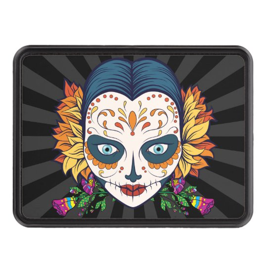 Sugar Skull Woman With Orange and Purple Flowers Trailer Hitch Covers