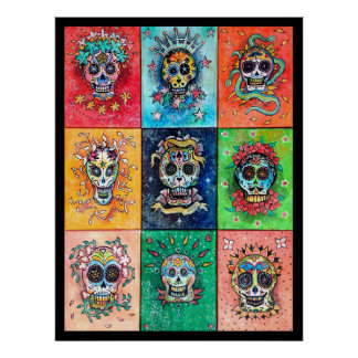 Sugar Skulls 9 - Original art by Dori Hartley Poster
