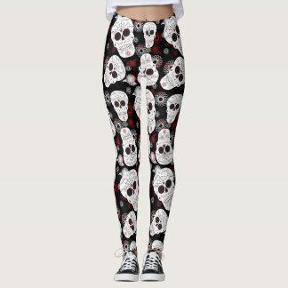 Sugar Skulls And Flowers Leggings