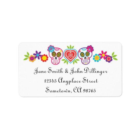 Sugar Skulls and Flowers Return Address Label
