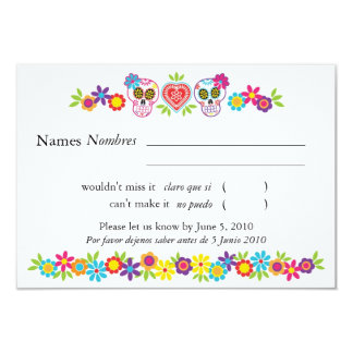 Sugar Skulls and Flowers RSVP Card
