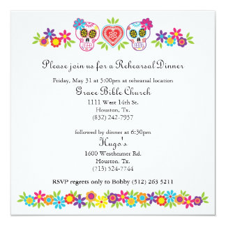 Sugar Skulls and Flowers Wedding Yellow Bkgnd Card