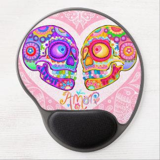 Sugar Skulls Couple Gel Mousepad - Love Heart Art