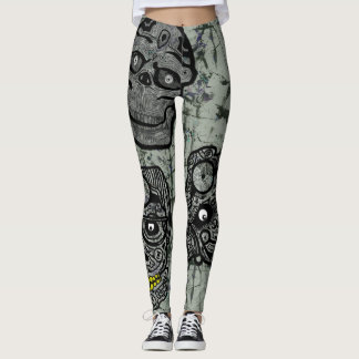 SUGAR SKULLS GOTHIC by Slipperywindow Leggings